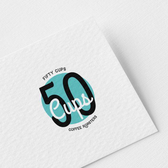 Σχεδιασμός Λογοτύπου για την καφετέρια 50Cups στη Λάρισα.